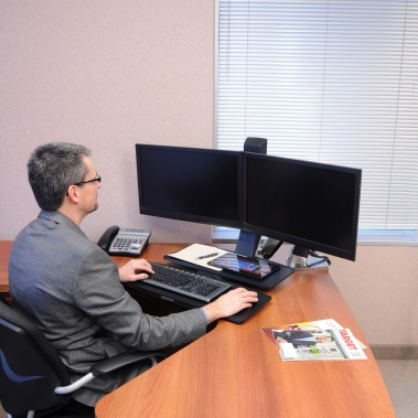 WorkFit-A, Dual Monitor with Worksurface+